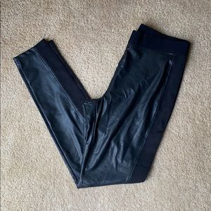 Hue faux leather legging with ponte side panel